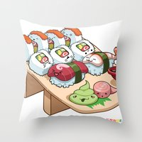 Kawaii California Roll and Sushi Shrimp and Tuna Nigiri Throw Pillow