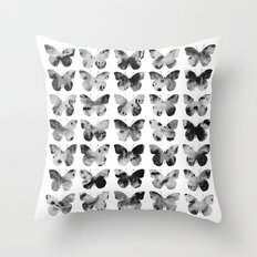 Butterflies Watercolor (black and white) Throw Pillow