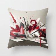 Red Metal Throw Pillow