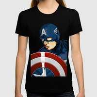 Captain America Womens Fitted Tee Black SMALL