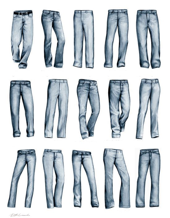 Many Jeans Art Print