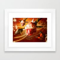 Rose and Butterfly Framed Art Print
