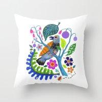 Bird Botanical Throw Pillow