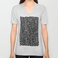 Hand Knitted Black S Unisex V-Neck
