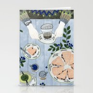 Stationery Cards featuring Blueberry Scones by Yuliya