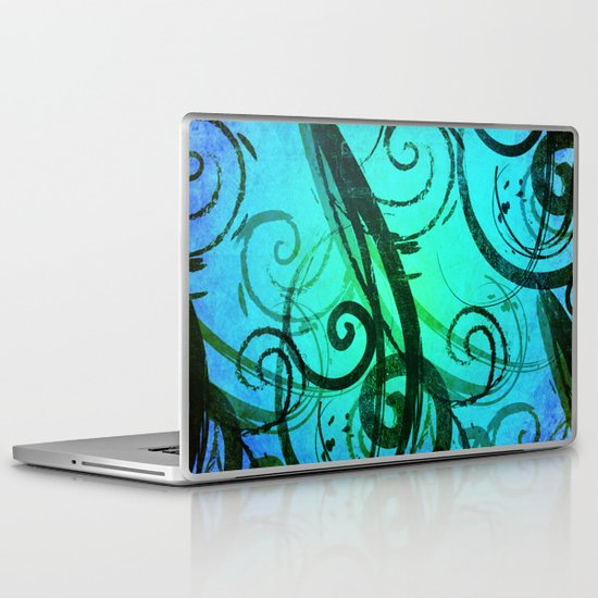 Blue Rustic Swirls Laptop & iPad Skin