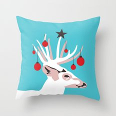 Deer with Cheer Throw Pillow