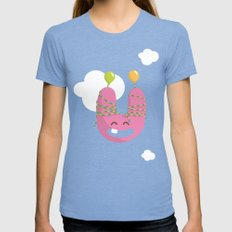 letter U Womens Fitted Tee Tri-Blue SMALL