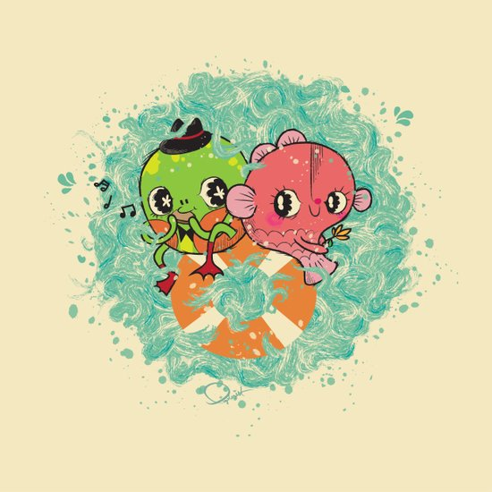 The Pond Lovers - Mr. Froggy and Ms Goldfish Art Print