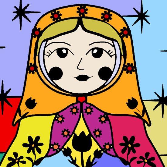 Matryoshka russian doll colorful illustration wall decor - Luba Art Print