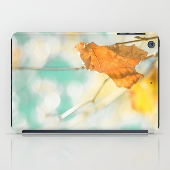 Gold Autumn Fall Leafs on Dreamy Blue Turquoise Vintage Retro Sky  iPad Case