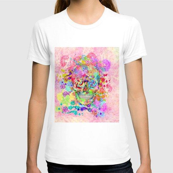 Girly Sugar Skull Pink Glitter Fine Art Paint T-shirt