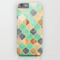 iPhone Cases featuring Charcoal, Mint, Wood & Gold Moroccan Pattern by micklyn