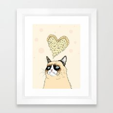 Grumpy Pizza Love Framed Art Print