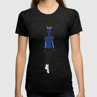 Galactic Street Queen; Martian Babe Womens Fitted Tee Tri-Black SMALL