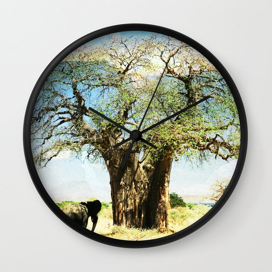 Finding an old friend - elephant in the wild Wall Clock