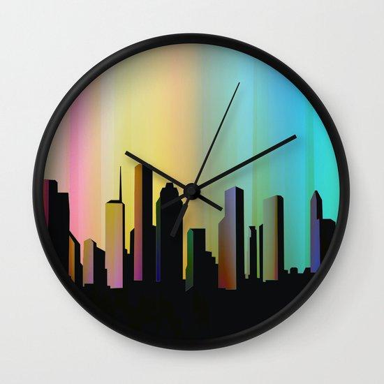 Cityscape through the veil Wall Clock