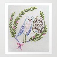 Owl in ferns Art Print