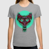 Black CAT- Black Womens Fitted Tee Tri-Grey SMALL