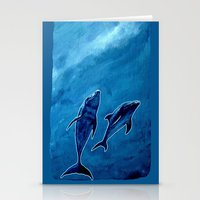 2 dolphins Stationery Cards