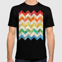 Chevron Rainbow Quilt Mens Fitted Tee Black SMALL