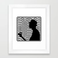 Bass Guitar Player Silhouette B/W Framed Art Print