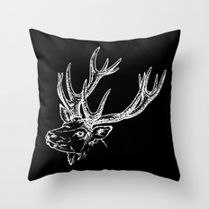 Deer Black White Throw Pillow