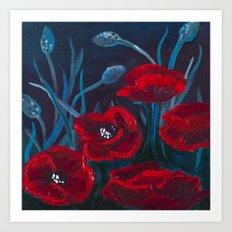Crimson Poppies Art Print