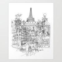 Paris! B&W Art Print