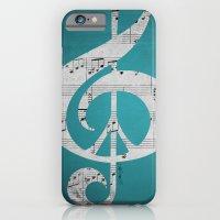 iPhone & iPod Case featuring Music & Peace Aqua Sheets by Inspireuart