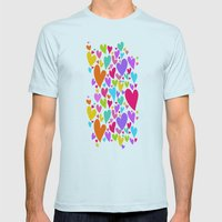 Cute colorful heart Mens Fitted Tee Light Blue SMALL