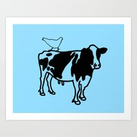 Cow And Chicken Art Print