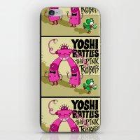 Yoshi Battles The Pink Robots iPhone & iPod Skin