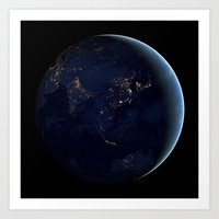 Asia at Night Art Print