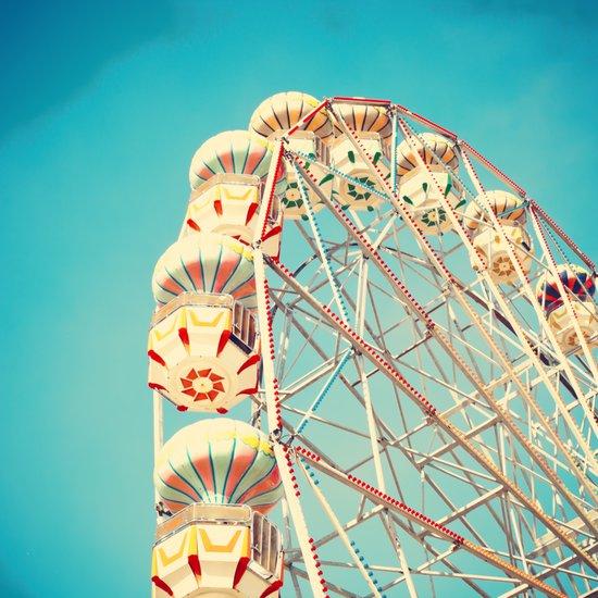 Ferris Wheel on blue sky  Art Print