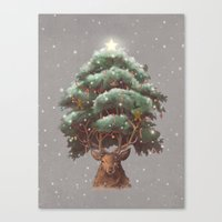 Reindeer Tree Canvas Print