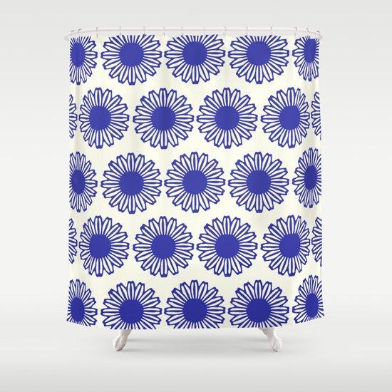 Vintage Flower Blue Shower Curtain