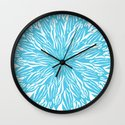Blue flow er Wall Clock