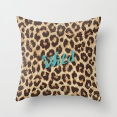 Leopard Print Teal Blue Wild Brown Girly Pattern Throw Pillow
