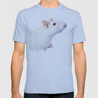 White Rat Watercolor Alb… Mens Fitted Tee Athletic Blue SMALL
