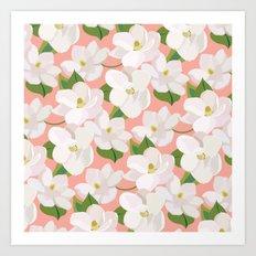 Magnolia Garden (pink) Art Print