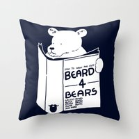 Beard 4 Bears Throw Pillow
