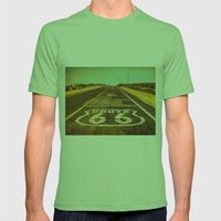 Route 66 Road Marker Mens Fitted Tee Grass SMALL