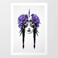 flowers Art Prints featuring New Way Warrior by Ruben Ireland