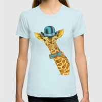I'm too SASSY for my hat! Vintage Painted Giraffe. Womens Fitted Tee Light Blue SMALL