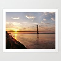 Humber Bridge Sunset Art Print