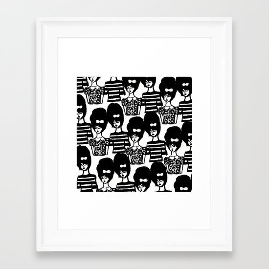 Bouffant Girls Framed Art Print