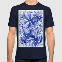 Blue flowers. Mens Fitted Tee Navy SMALL