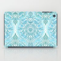 Turquoise Blue, Teal & White Protea Doodle Pattern iPad Case