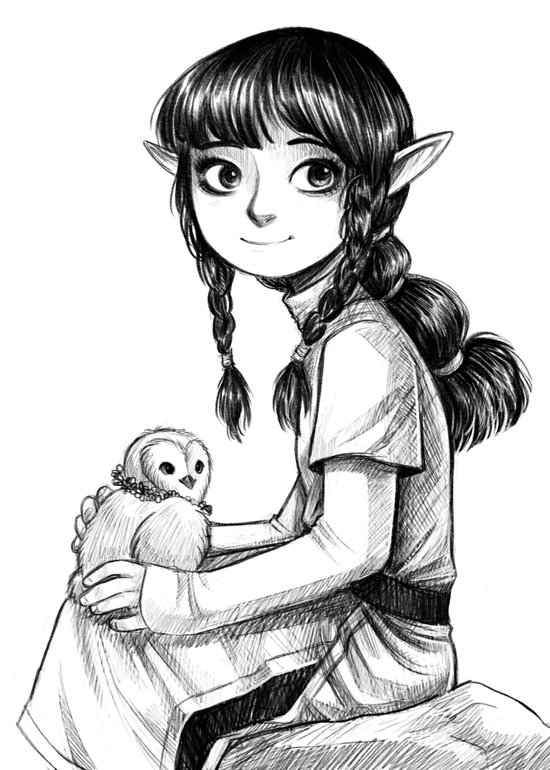 Elf and Owl Art Print
